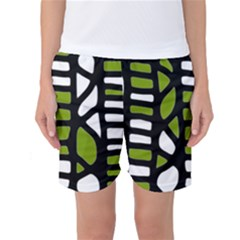 Green Decor Women s Basketball Shorts by Valentinaart