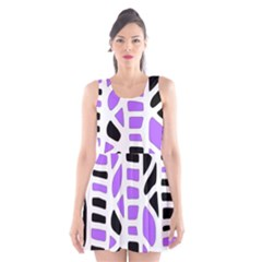 Purple Abstract Decor Scoop Neck Skater Dress