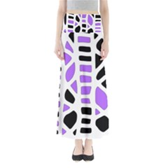 Purple Abstract Decor Maxi Skirts