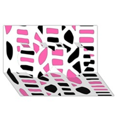 Pink Decor Twin Hearts 3d Greeting Card (8x4)