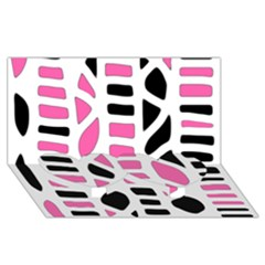 Pink Decor Twin Heart Bottom 3d Greeting Card (8x4)