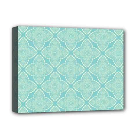 Light Blue Lattice Pattern Deluxe Canvas 16  X 12   by TanyaDraws