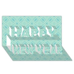Light Blue Lattice Pattern Happy New Year 3d Greeting Card (8x4) by TanyaDraws