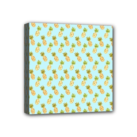 Tropical Watercolour Pineapple Pattern Mini Canvas 4  X 4  by TanyaDraws