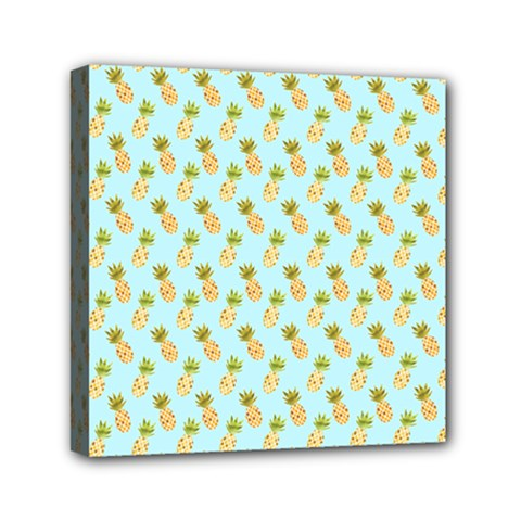 Tropical Watercolour Pineapple Pattern Mini Canvas 6  X 6  by TanyaDraws