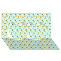 Tropical Watercolour Pineapple Pattern Twin Hearts 3d Greeting Card (8x4)