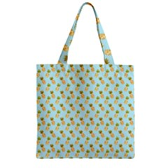 Tropical Watercolour Pineapple Pattern Zipper Grocery Tote Bag by TanyaDraws