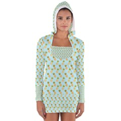 Tropical Watercolour Pineapple Pattern Women s Long Sleeve Hooded T-shirt by TanyaDraws