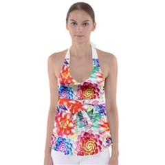 Colorful Succulents Babydoll Tankini Top by DanaeStudio