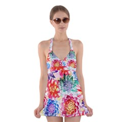Colorful Succulents Halter Swimsuit Dress