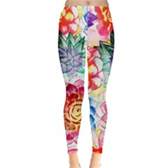 Colorful Succulents Leggings  by DanaeStudio