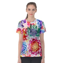Colorful Succulents Women s Sport Mesh Tee