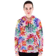 Colorful Succulents Women s Zipper Hoodie