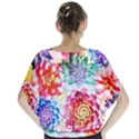 Colorful Succulents Batwing Chiffon Blouse View2