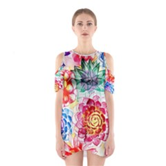 Colorful Succulents Women s Cutout Shoulder One Piece