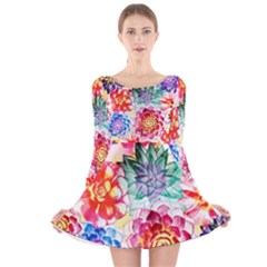 Colorful Succulents Long Sleeve Velvet Skater Dress