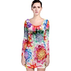 Colorful Succulents Long Sleeve Velvet Bodycon Dress