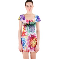 Colorful Succulents Short Sleeve Bodycon Dress