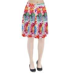 Colorful Succulents Pleated Skirt