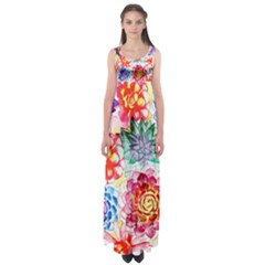 Colorful Succulents Empire Waist Maxi Dress
