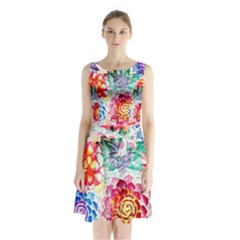 Colorful Succulents Sleeveless Chiffon Waist Tie Dress