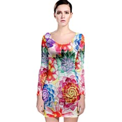Colorful Succulents Long Sleeve Bodycon Dress