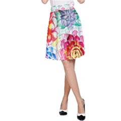 Colorful Succulents A Line Skirt