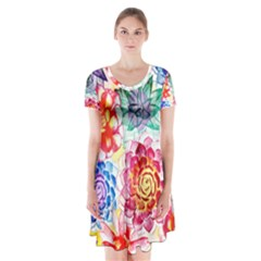 Colorful Succulents Short Sleeve V-neck Flare Dress