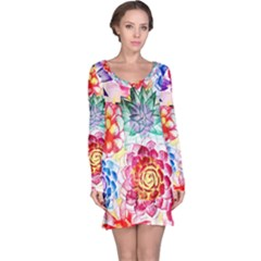 Colorful Succulents Long Sleeve Nightdress
