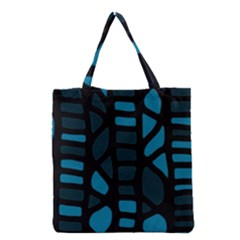Deep Blue Decor Grocery Tote Bag by Valentinaart