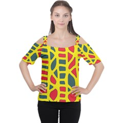 Yellow, Green And Red Decor Women s Cutout Shoulder Tee by Valentinaart