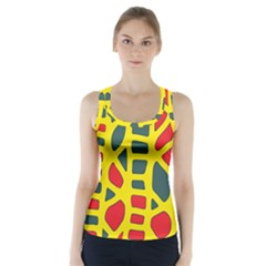 Yellow, Green And Red Decor Racer Back Sports Top by Valentinaart
