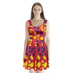 Red, Yellow And Blue Decor Split Back Mini Dress