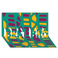 Green, Purple And Yellow Decor Best Bro 3d Greeting Card (8x4)