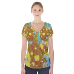 Paint Strokes                                Short Sleeve Front Detail Top