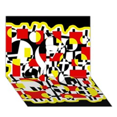 Red And Yellow Chaos Ribbon 3d Greeting Card (7x5)
