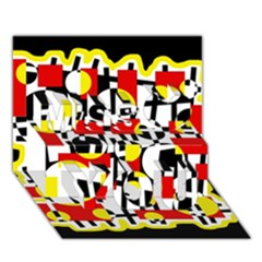 Red And Yellow Chaos Miss You 3d Greeting Card (7x5)