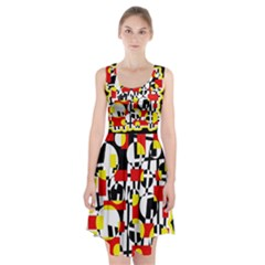 Red And Yellow Chaos Racerback Midi Dress