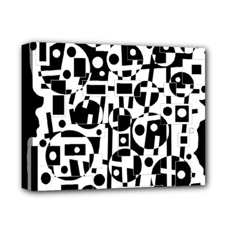 Black And White Abstract Chaos Deluxe Canvas 14  X 11  by Valentinaart