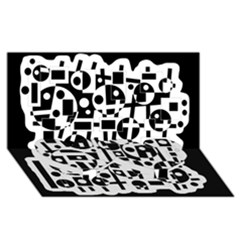 Black And White Abstract Chaos Twin Heart Bottom 3d Greeting Card (8x4)
