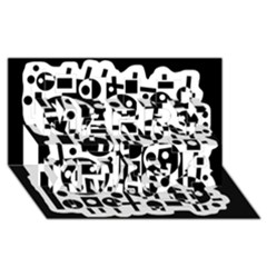 Black And White Abstract Chaos Merry Xmas 3d Greeting Card (8x4)