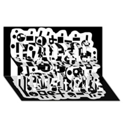 Black And White Abstract Chaos Laugh Live Love 3d Greeting Card (8x4) by Valentinaart