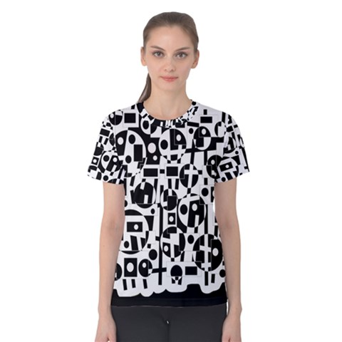 Black And White Abstract Chaos Women s Cotton Tee by Valentinaart