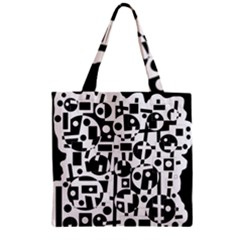 Black And White Abstract Chaos Zipper Grocery Tote Bag by Valentinaart