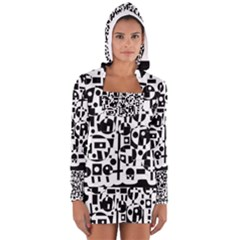 Black And White Abstract Chaos Women s Long Sleeve Hooded T-shirt by Valentinaart