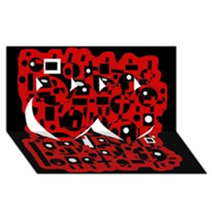 Red Twin Hearts 3d Greeting Card (8x4)