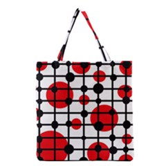 Red Circles Grocery Tote Bag by Valentinaart