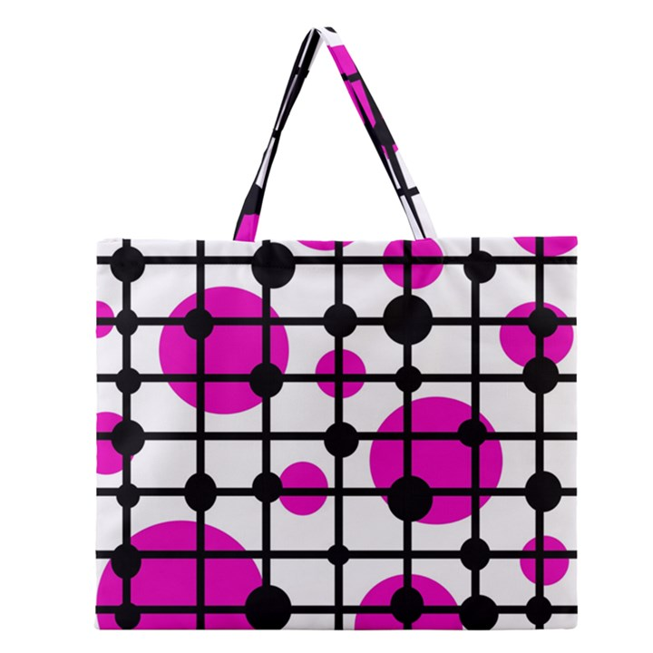 Magenta circles Zipper Large Tote Bag