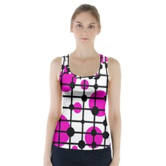 Magenta Circles Racer Back Sports Top by Valentinaart