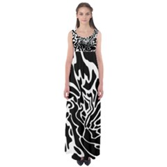 Black And White Decor Empire Waist Maxi Dress by Valentinaart